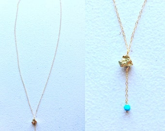 """21.5""""long unique gold plated Pyrite necklace accented with Turquoise,TARNISH FREE,14ct gold filled chains and clasp, crystal,summer"""