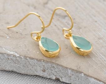 Handmade, 18k Gold Plated Sterling Silver Aqua Calcite Drop Earrings