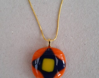 Orange, Blue and Yellow Fused Glass Pendant