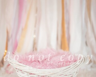 Shabby Chic Pink and White Digital Backdrop