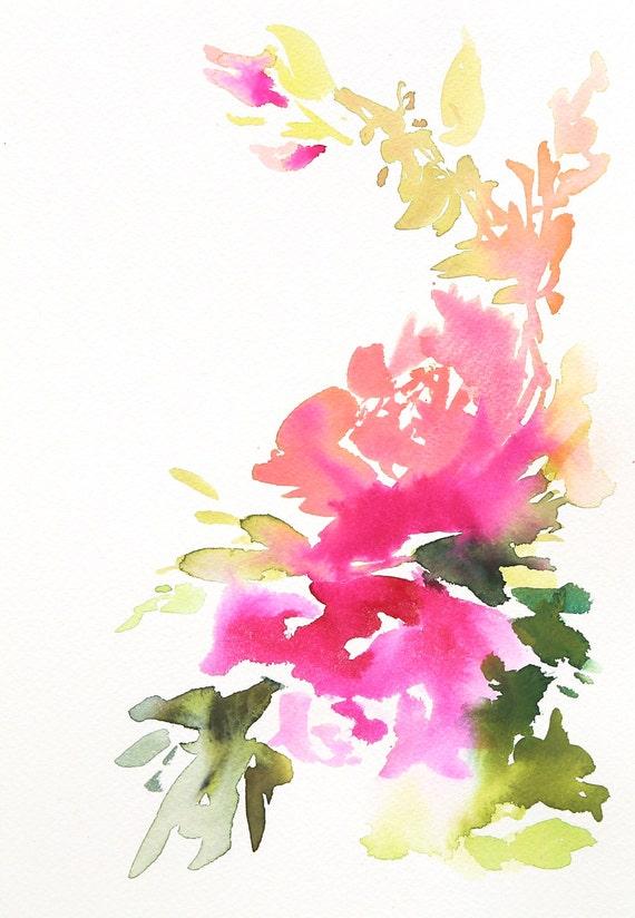 Watercolor print peony painting peony art peony by Pinkandsalt