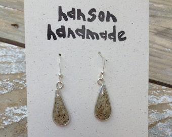 Beach sand sterling silver earrings