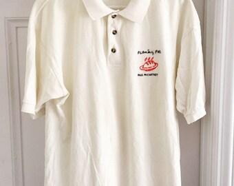 Paul McCartney RARE VINTAGE CONCERT Polo Shirt/1990s/Large/Flaming Pie Tour