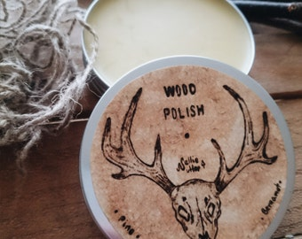 SALE 35% OFF Handmade Natural Wood Polish Handpainted Label Pine and Bergamot Essential Oils , Furniture Polish , Handmade Label ,100g/3,5oz