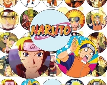 30 Naruto Digital Party Stickers Circles size 1'' and 1.5'' sheet A4 (8.5''x11'') Bottle Cap images Cupcake Toppers Modern Pictures