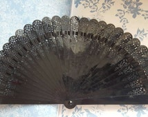 Black 1930s Celluloid Hand Held Fan With Detailed Fret Work