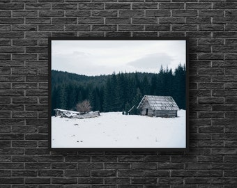 Broken House Photo - Abandoned House Photography - Winter Landscape Photo - Old House Print - Wooden House - Empty House - Winter Wall Decor
