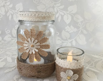 Burlap and Lace Mason Jar and Votive Candle Holder Set