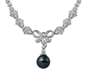 Black Natural Pearl and Diamond Necklace in 18k White Gold (17.5 Inches)