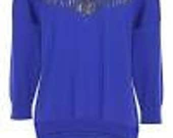 Contemporary blue jumper with metallic chains