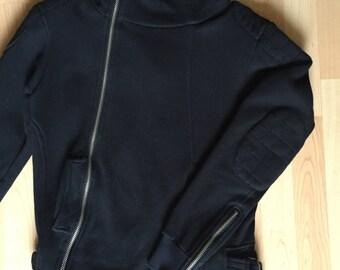 Asymmetric Hoodie in Black Cotton