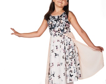 White Midi Dress, Girls White Dress, Loose Dress, Sleeveless Dress, Girls Party Dress, 2nd Birthday Dress, School Dress, Casual Dress