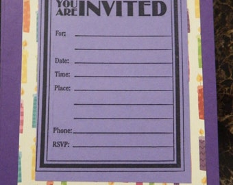 Birthday party invitations - pack of 12 (candles)