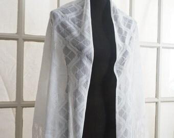 White Lace Diamond Shawl