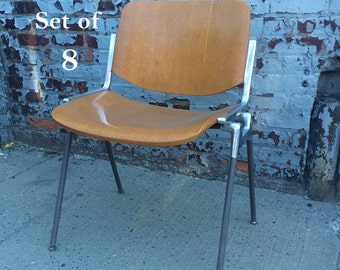 Mid-Century Modern Castelli Italia Stacking Chairs - Set of (8)