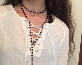DoubleWrap Beaded Rosary Necklace
