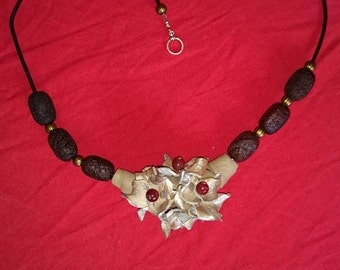 Handmade Agate and Leather Necklace