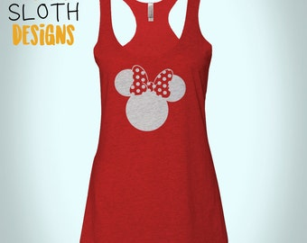 Minnie Mouse  Disney tank top Women racerback tank top Fitness tank, work out Yoga burn out tank top