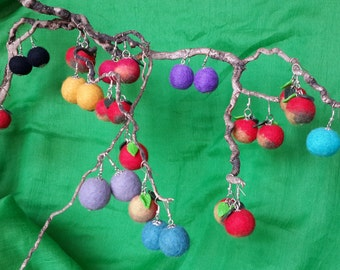 Felt earrings of different colors and shades