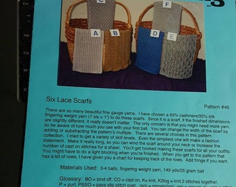 2000s Ann Norling #46 Six Lace Scarfs Scarves Knitting Pattern OOP