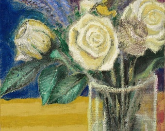 Vase with White Roses