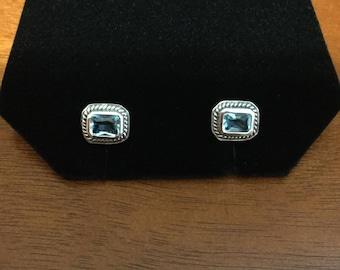 Silver blue topaz like earrings