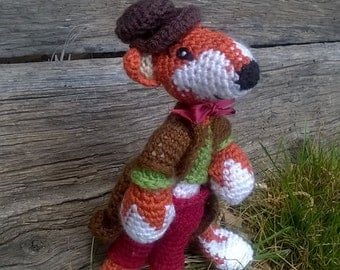 Fox headed gentleman slovenly, crocheted hand-looking