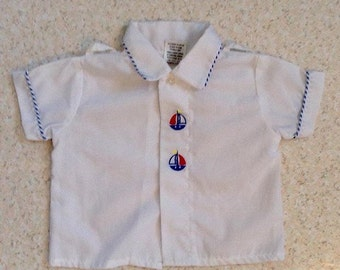 Vintage Baby Shirt red white blue sailboat prepoy toddler