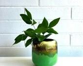 Beautiful Vintage Mid Century Green Ceramic Vase Pot Circa 50s/60s