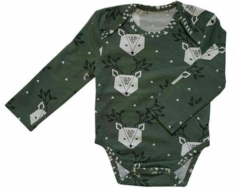 Green Organic Cotton Bodysuit With Long Sleeves