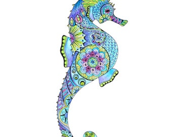 Seahorse painting, Seahorse art, Ocean art, beach art, seahorse zentangle, seahorse bath decor, Blue seahorse, seahorse wall art, seahorse