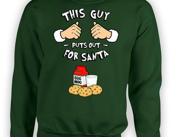 Funny Christmas Hoodie This Guy Puts Out For Santa Sweater Holiday Gift Ideas For Him Xmas Present Hooded Sweatshirt Egg Nog TGW-610