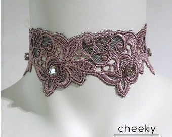 Powder lace choker necklace embellished with Swarovski crystals