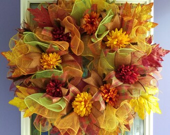 Fall Leaves and Mums Deco Mesh Wreath