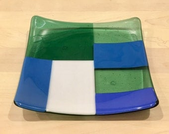 Marian Blue White Periwinkle Winter Green Fused Glass Plate, Fused Glass Dish