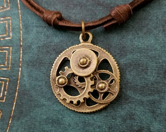 Cogs and Gears Necklace Gears Jewelry Steampunk Jewelry Charm Necklace Leather Necklace Brown Cord Necklace Men's Jewelry Boyfriend Necklace