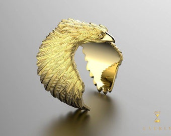 10k 14k 18k Solid Yellow Gold Men's Eagle Ring Uverly Luxury Jewelry