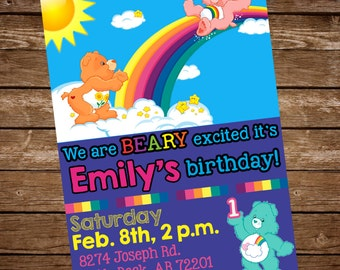 Care Bears Birthday Invitation, Carebears Invite, Care Bears Invite, Rainbow Invitation, First Birthday Invitation, Care Bears Birthday