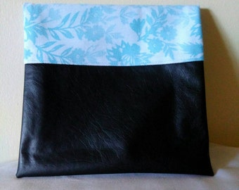 Blue and Black Fold-over Clutch Purse with faux leather - Blue flowers fabric - zipper pouch or clutch
