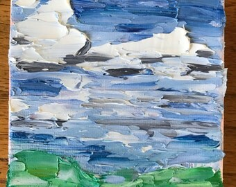 Landscape- 4x4 Painting- Oil on Canvas- Tiny Art- Nontraditional- Abstract Painting- Original Artwork