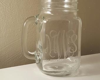 Cursive Personalized Mason Jar
