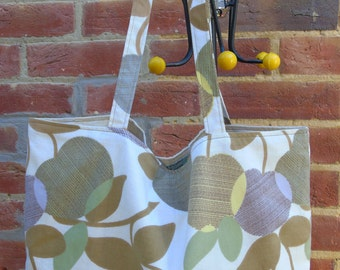Funky vintage retro 1960s print  green apple tote shopping craft bag