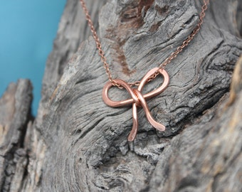 Copper Remembrance Bow Necklace, Handmade in Solid Copper