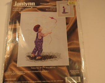Vintage Counted Cross Stitch Kit by Janlynn, Boy with a kite, Cross Stitch Kit