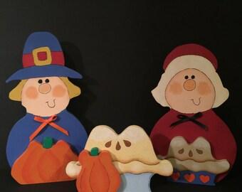 Thanksgiving, Pilgrims, Pumkins, Holiday Decor, Tole Painting, Decorative Painting, Home Decor