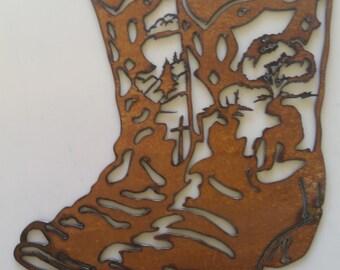 CNC Metal Cowboy Prayer Boots