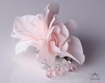 Light Pastel Pink Flower, Hairclip Brooch Pin, Swarovski Crystals Flower, Wedding Accessories, Hair Jewellery, Hair Flower Accessories