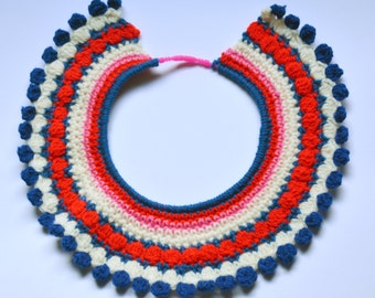 Red, White, Pink and Blue Crochet Collar Necklace