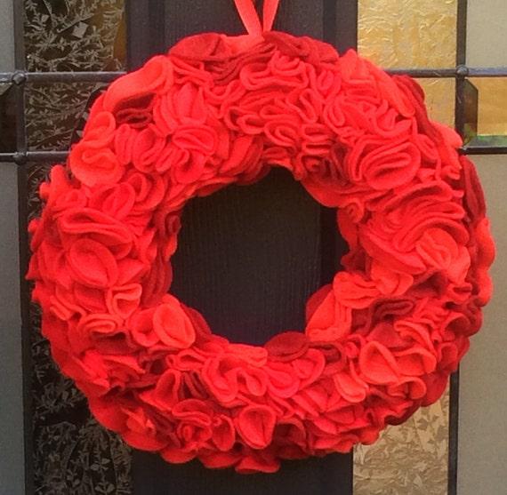 Ombre felt wreath. Red Felt Flowers. Holiday. Valentines. Christmas. Door Decor. Door Hanging. Wall Hanging. Custom. Flower Wreath. Roses.