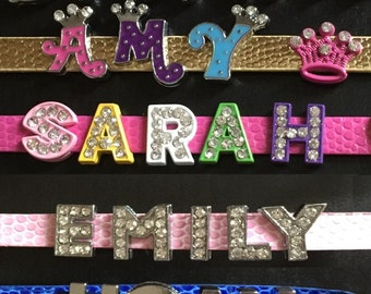 Personalised Name Tags for School Bags with Colourful Metal Letters